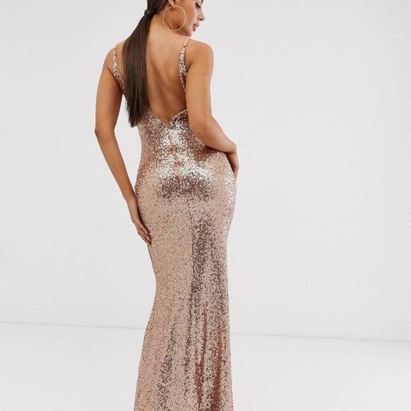 Club L London Square Neck Sequin Rose Gold Dress